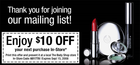 Current The Body Shop Canada (official) Coupons This page contains a list of all current The Body Shop Canada (official) coupon codes that have recently been submitted, tweeted, or .