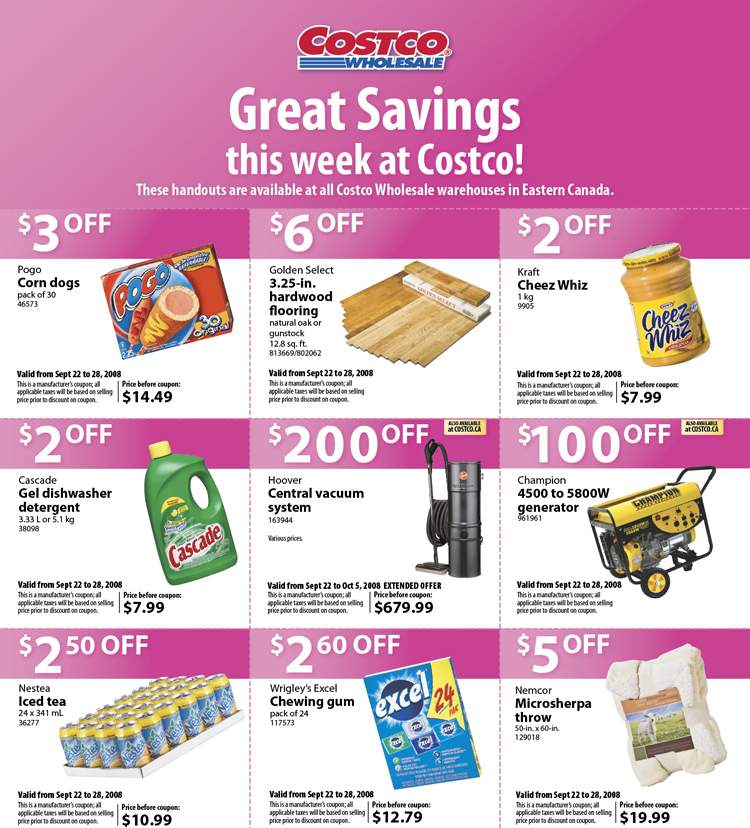 Costco Canada Flyer / Coupons: Sep 22 – 28, 2008 | Canadian