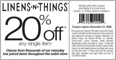 Linens N Things Canada Coupons