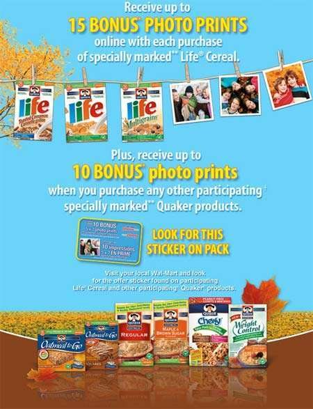 Free Photo Prints from Walmart Canada with Purchase of Quaker Cereal & Granola Bars