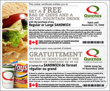 Quiznos coupon code