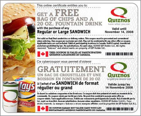 Quiznos coupon code