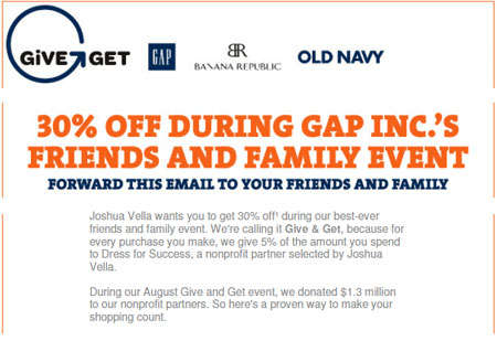 GAP, Banana Republic & Old Navy Canada Friends & Family Event Invitation Coupon