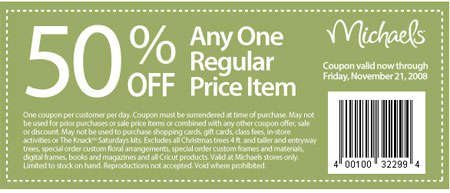 Michaels canada coupons 50 off any regularly priced item for Michaels craft store coupons printable