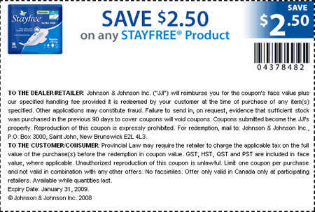 Canadian Coupons: Save $2 50 on any Stayfree product