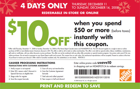 Get a $10 discount when you spend $50 or more at Home Depot stores all