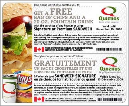 Quiznos Canada Coupon