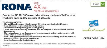 Rona Air Miles