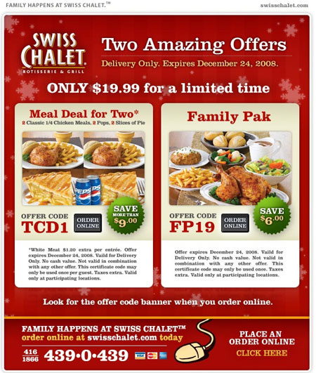 Get the latest Swiss Chalet coupons & promo codes now. Save on appetizers, rotisserie chicken and family meal deals with 9 Swiss Chalet discount codes for Canada in December
