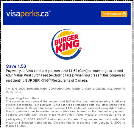 Burger King Canada Coupons