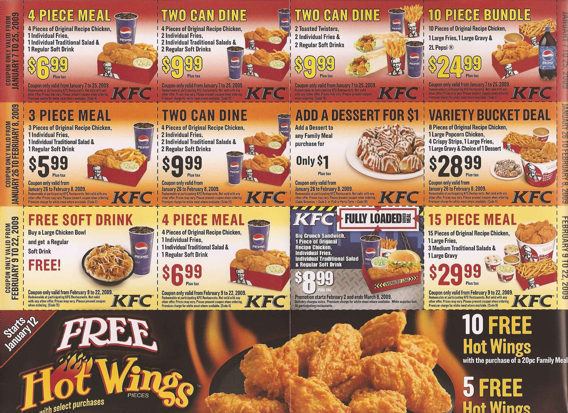 KFC Canada Menu Prices August 8 - September 25, KFC Menu Prices August 8 - September 25, is currently available – Find the latest menu prices for KFC. And Also, save with coupons for some pretty amazing money saving deals from KFC.