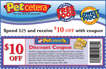Canadian Coupons: Petcetera Canada $10 off $25