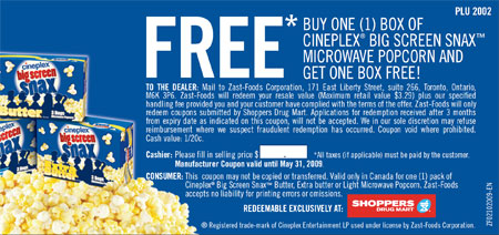 Cineplex Big Screen Snax Microwave Popcorn Canada Coupon