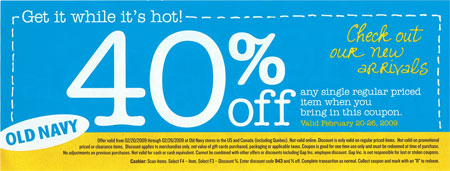 Old Navy Canada: 40% Printable Coupon