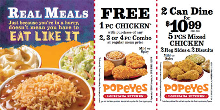 Discounts average $8 off with a Popeyes promo code or coupon. 16 Popeyes coupons now on RetailMeNot. Log In / Sign up. $ Cash Back in Washington DC they all ways have good coupon buy 11 pc get 11 pc? by ronadams See Details. Details; 37 Comments; Ended: 7/31/ Details: Get Free Gallon of Louisiana Sweeet Tea with.