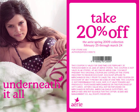 Aerie Canada In-store coupon