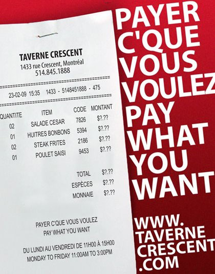 Pay What you want Restaurant in Canada