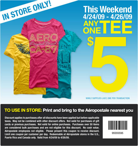 Aeropostale coupons canada