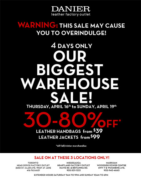 Danier Canada Warehouse Sale
