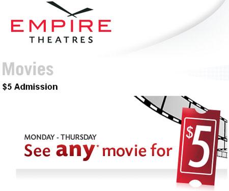 Empire Theatres Canada $5 Movie Admisions