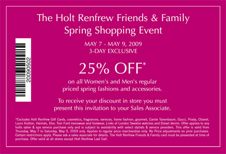 holt renfrew canada friends family spring shopping event invitation canadian freebies. Black Bedroom Furniture Sets. Home Design Ideas