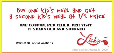 Licks Canada Kids Coupon