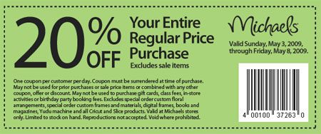 Michaels canada arts crafts store coupons 20 off for Coupons michaels arts and crafts