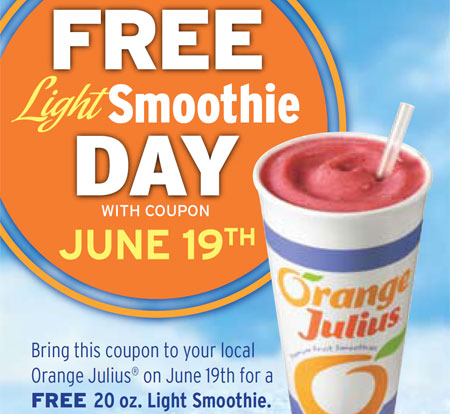Orange Julius Canada Free Smoothie