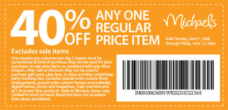 Michaels coupons canada 40 off