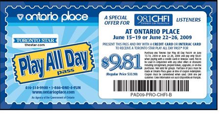 Ontario Place Coupon