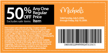 Michaels craft store canada coupons 50 off canadian for Coupons michaels arts and crafts