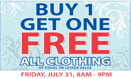 Thrift store canada sale buy one get one free on all for Buy 1 get 1 free shirts