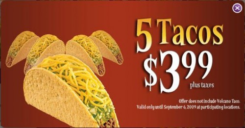 graphic about Taco Bell Coupons Printable referred to as Taco bell promotions canada - Kodak printer discount coupons