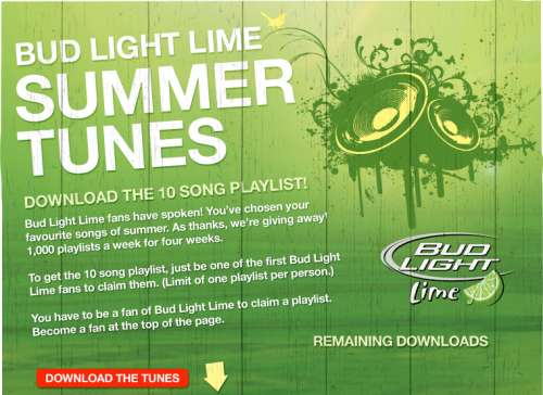 HOT* Bud light Lime Canada 10 FREE summer download songs