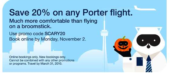 Porter airlines canada 20 off all flights book by nov 2 canadian freebies coupons deals - Porter airlines book flights ...