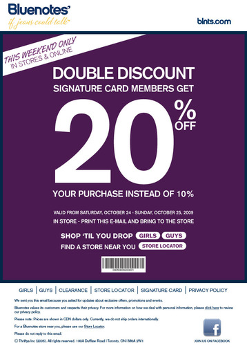 Bluenotes Canada Double Signature Card Discount This