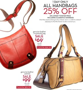 Danier Leather: One Day Only ALL Handbags 25% off (Oct 29 ...