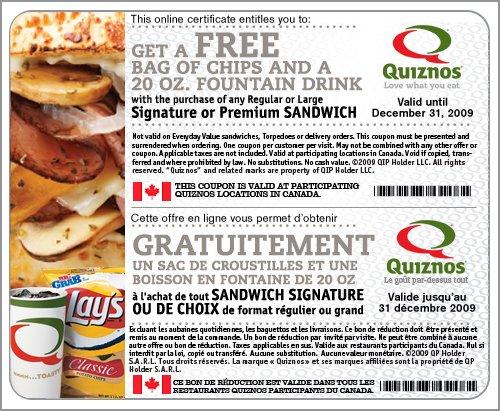 Quiznos Canada Sub Coupon