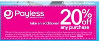 picture about Payless Shoes Printable Coupon referred to as Payless Footwear Canada: 20% off printable coupon Canadian