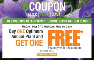 The Home Depot Buy One Optimum Annual Plant Get One Free