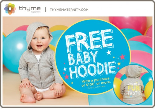 Maternity free baby hoodie when you spend 100 or more canadian