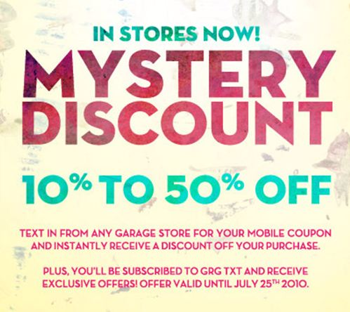 Garage clothing coupons canada 2018