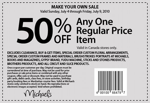 michaels canada arts crafts store coupon 50 off one