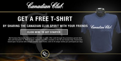 Canadian Freebie: Get a Free Canadian Club T-Shirt When You