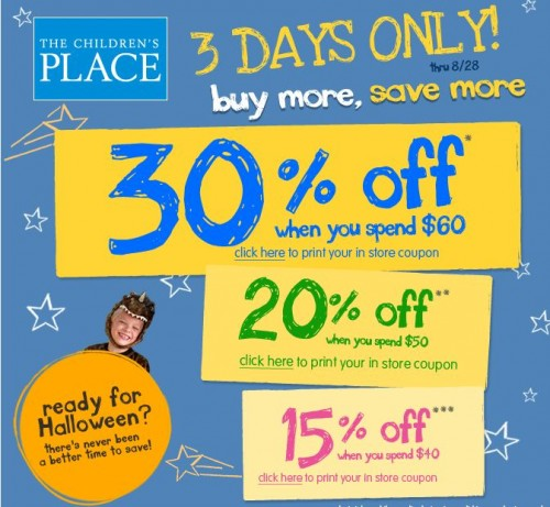 promo code childrens place canada