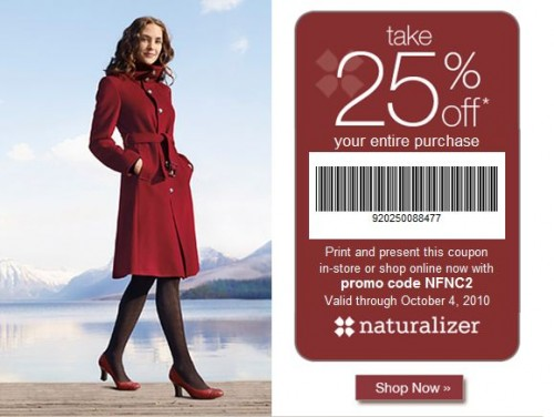 Find 4 Naturalizer promo codes and coupon codes for December on RetailMeNot. Today's top Naturalizer coupon: Extra 25% Off Sitewide.