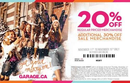 Garage canada coupons 2019