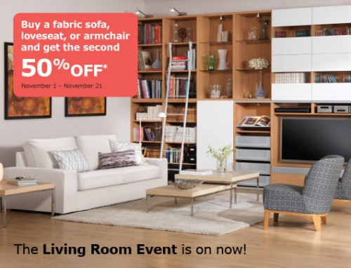 Ikea canada buy a fabric sofa armchair or loveseat and for Living room 50 off january