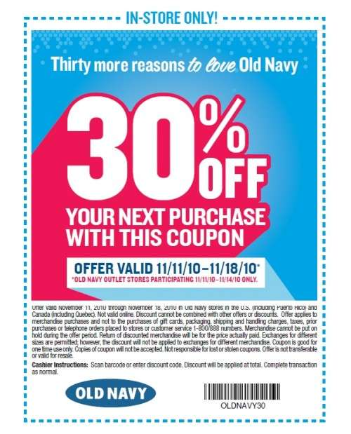 Old Navy coupons & coupon codes October The best deals, coupons and free Get a Lower Price · New Coupons Added · Save On Your Purchase · Latest Coupons & MoreTypes: Coupon Codes, Promotional Codes, Exclusive Offers.