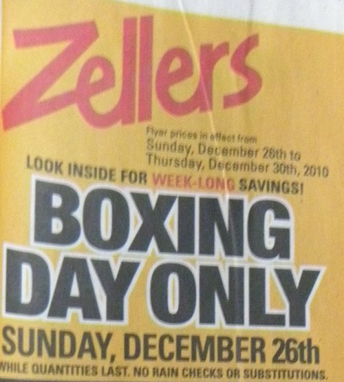 Zellers Boxing Day Flyer Sales